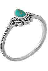 Sterling Silver Dotted Turquoise Teardrop Ring