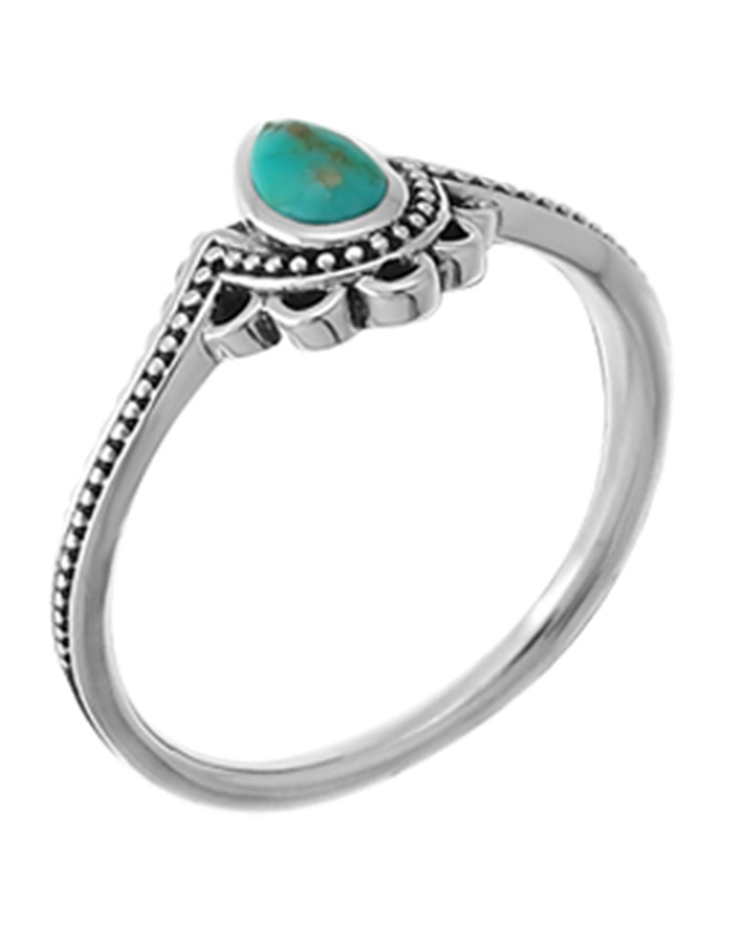 Dotted Turquoise Teardrop Ring
