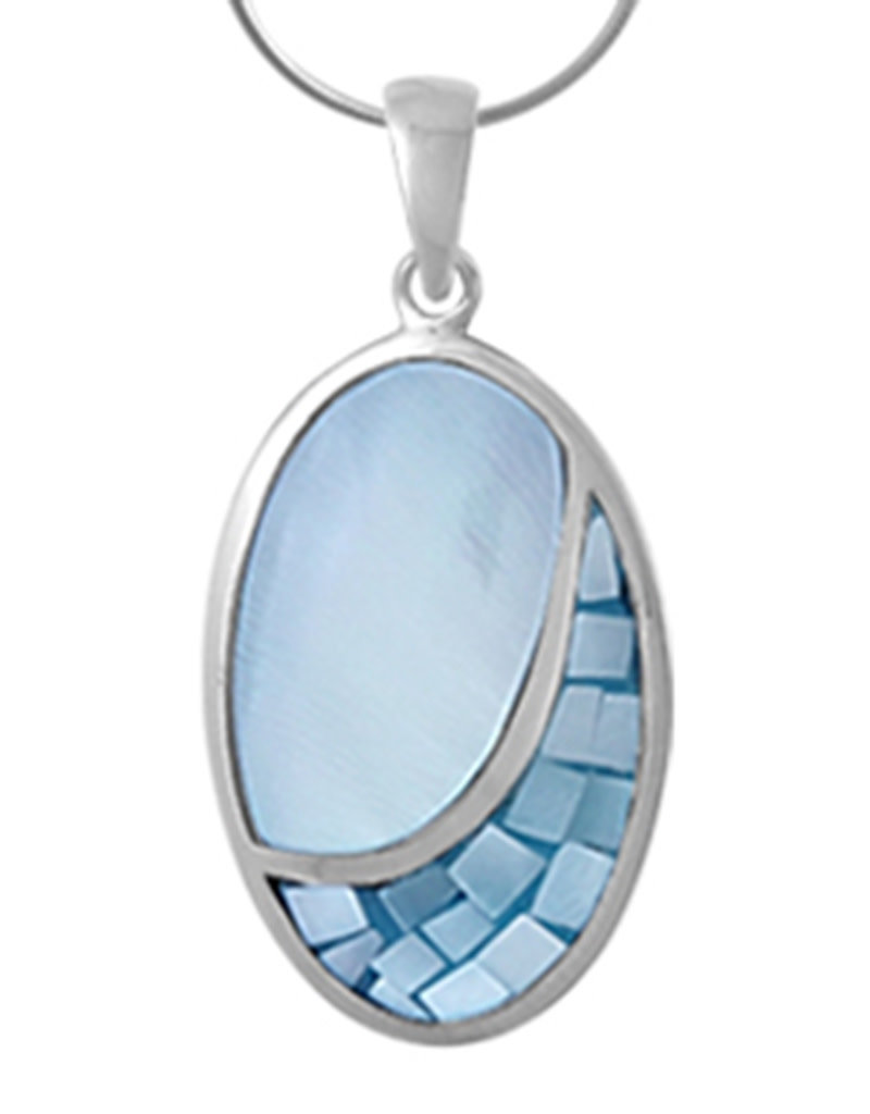 Sterling Silver Oval Blue Mother of Pearl Pendant