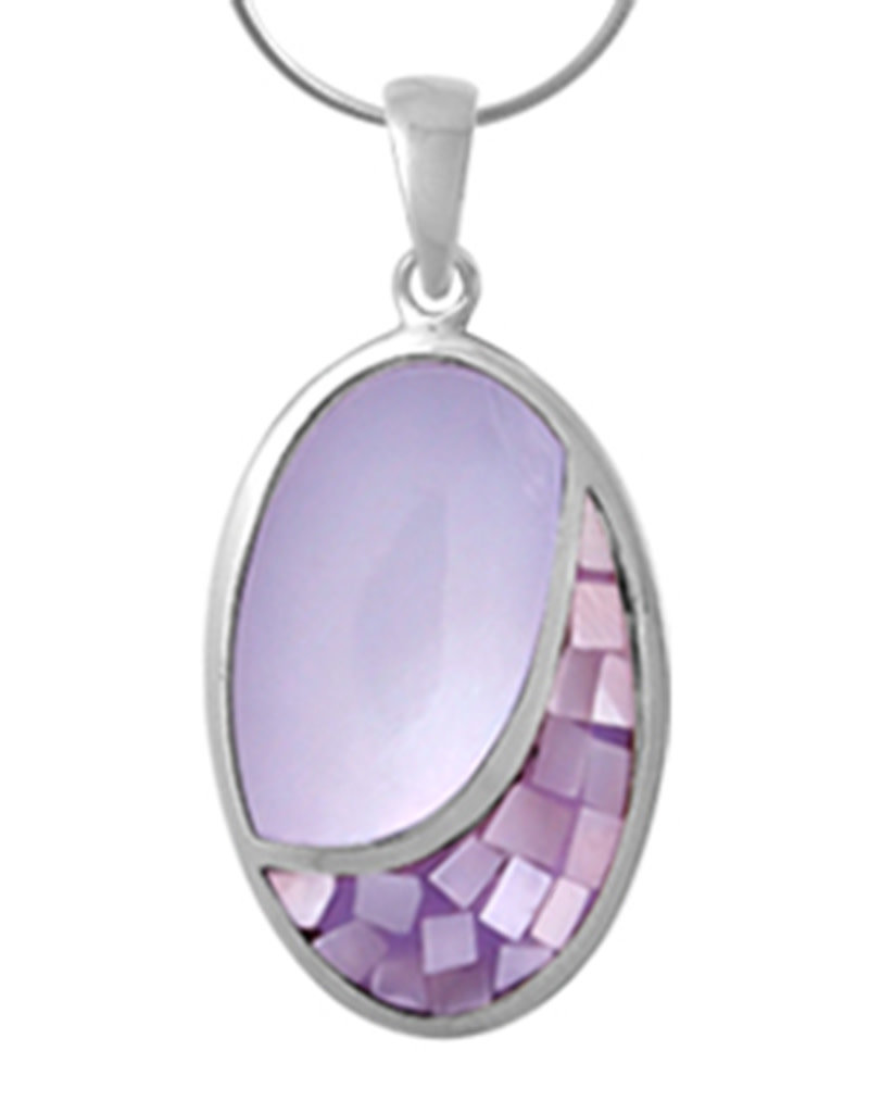 Sterling Silver Oval Purple Mother of Pearl Pendant