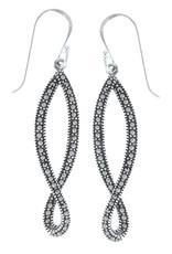 Sterling Silver Twist Dangle Marcasite Earrings 35mm