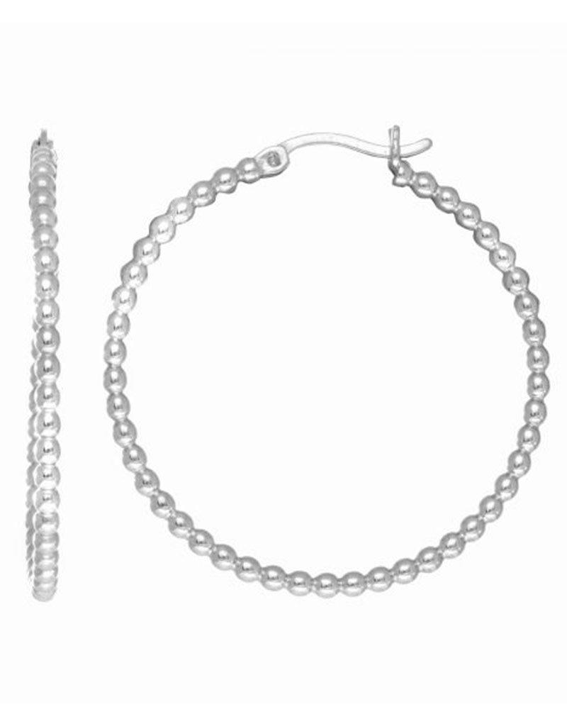 Sterling Silver Bead Tube Hoop Earrings 35mm