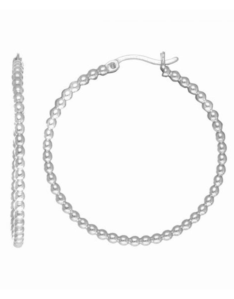 Bead Tube Hoop Earrings 35mm