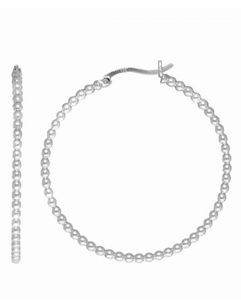 Sterling Silver Bead Tube Hoop Earrings 40mm