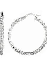 Sterling Silver Diamond Cut Weaved Round Hoop Earrings 35mm