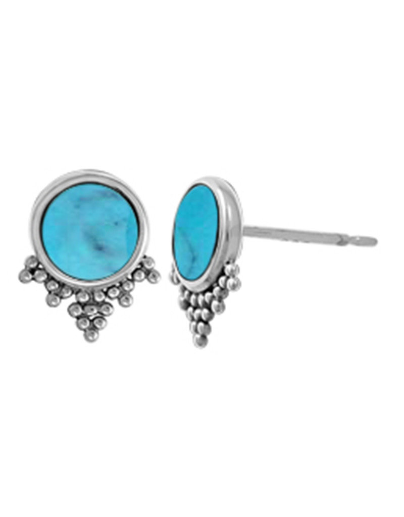Sterling Silver Round  Turquoise Stud Earrings 9mm