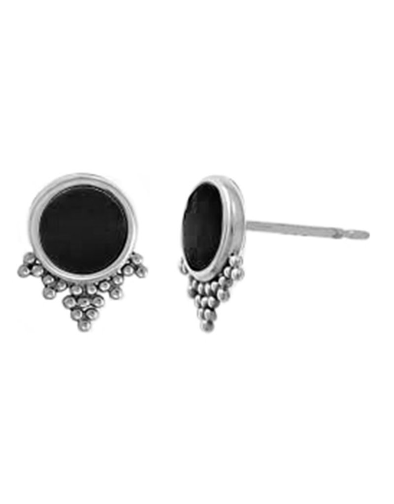 Sterling Silver Round Onyx Stud Earrings 9mm