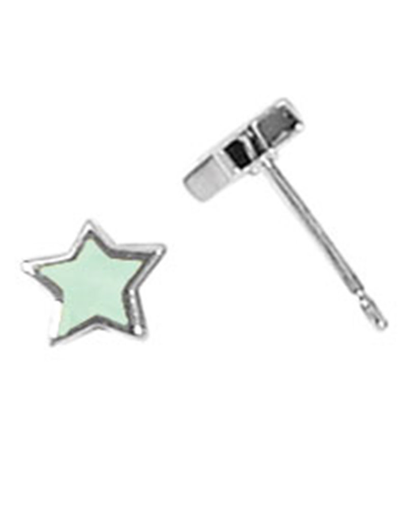 Sterling Silver Star Green Mother of Pearl Stud Earrings 6mm
