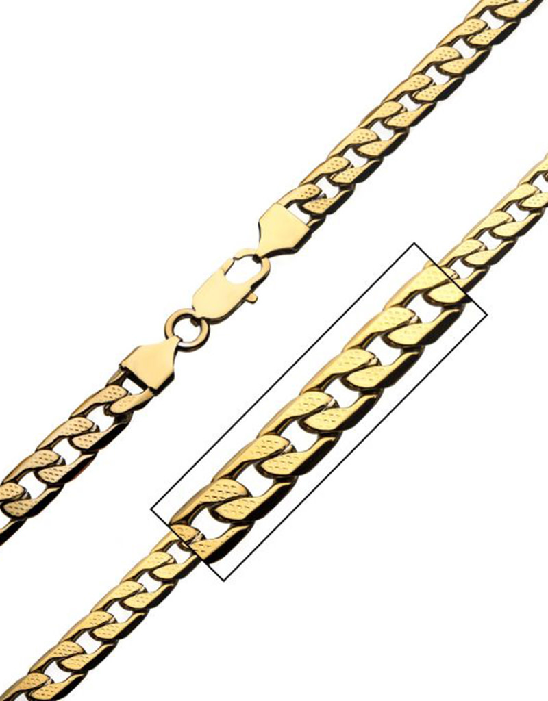 7mm Gold Steel Pattern Figaro Necklace