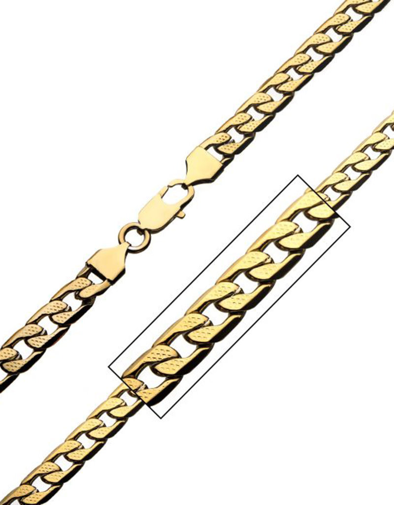 Men's 7mm Gold Stainless Steel Pattern Figaro Link Chain Necklace