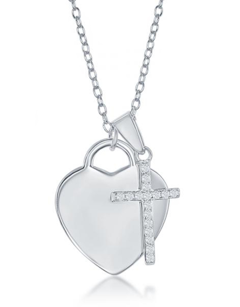 Heart with CZ Cross Necklace