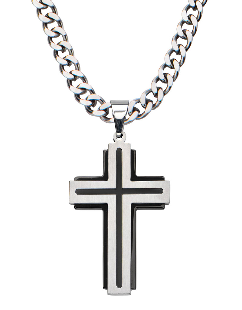 Black Line Steel Cross Necklace