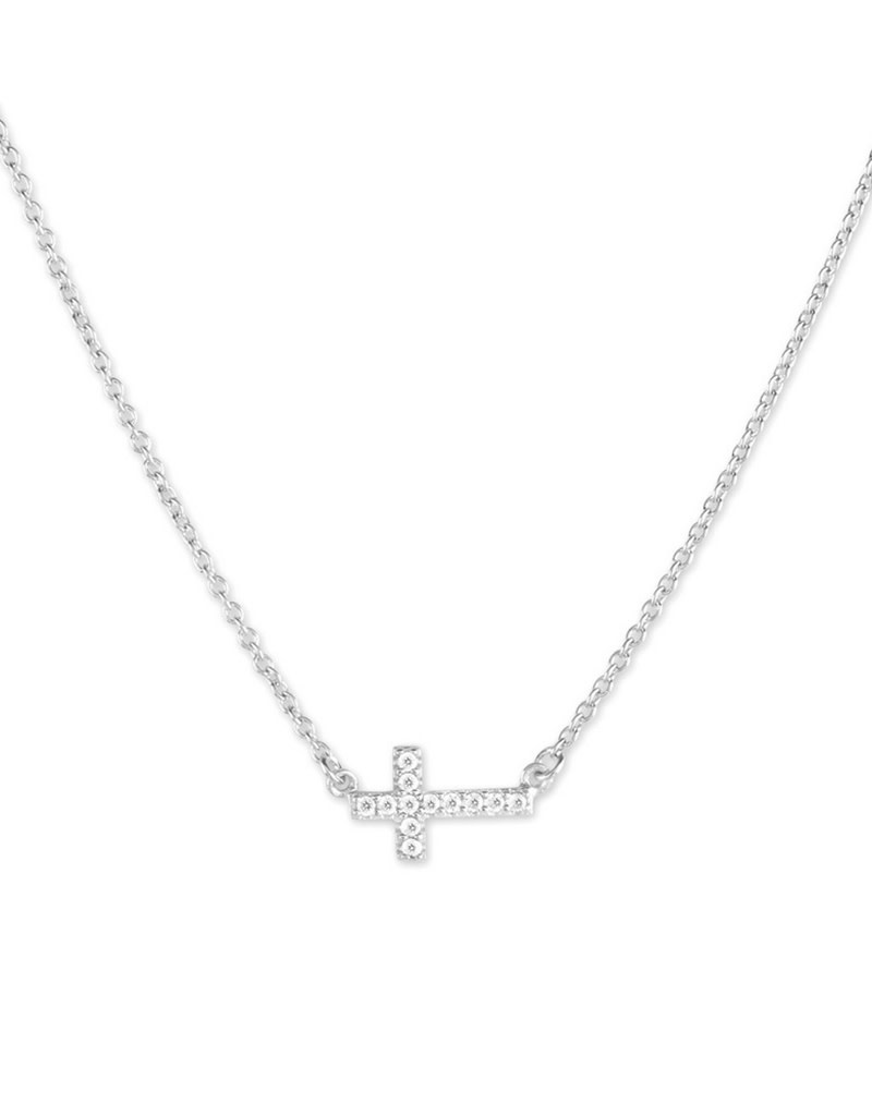 Small Sideways CZ Cross Necklace *clam-4899