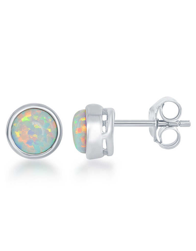 Opal Bezel Set Stud Earrings