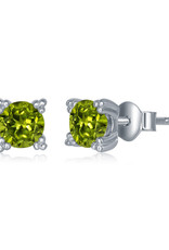 Sterling Silver 5mm Round Peridot Stud Earrings