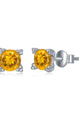 Sterling Silver 5mm Round Citrine Stud Earrings