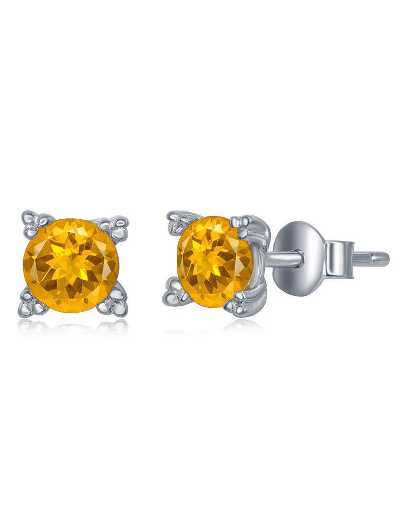 Sterling Silver 5mm Round Citrine Stud Earrings