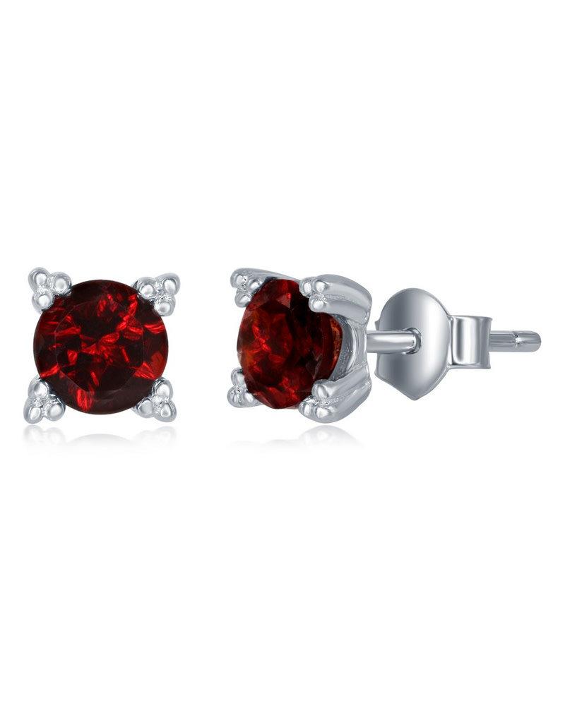 Sterling Silver 5mm Round Garnet Stud Earrings
