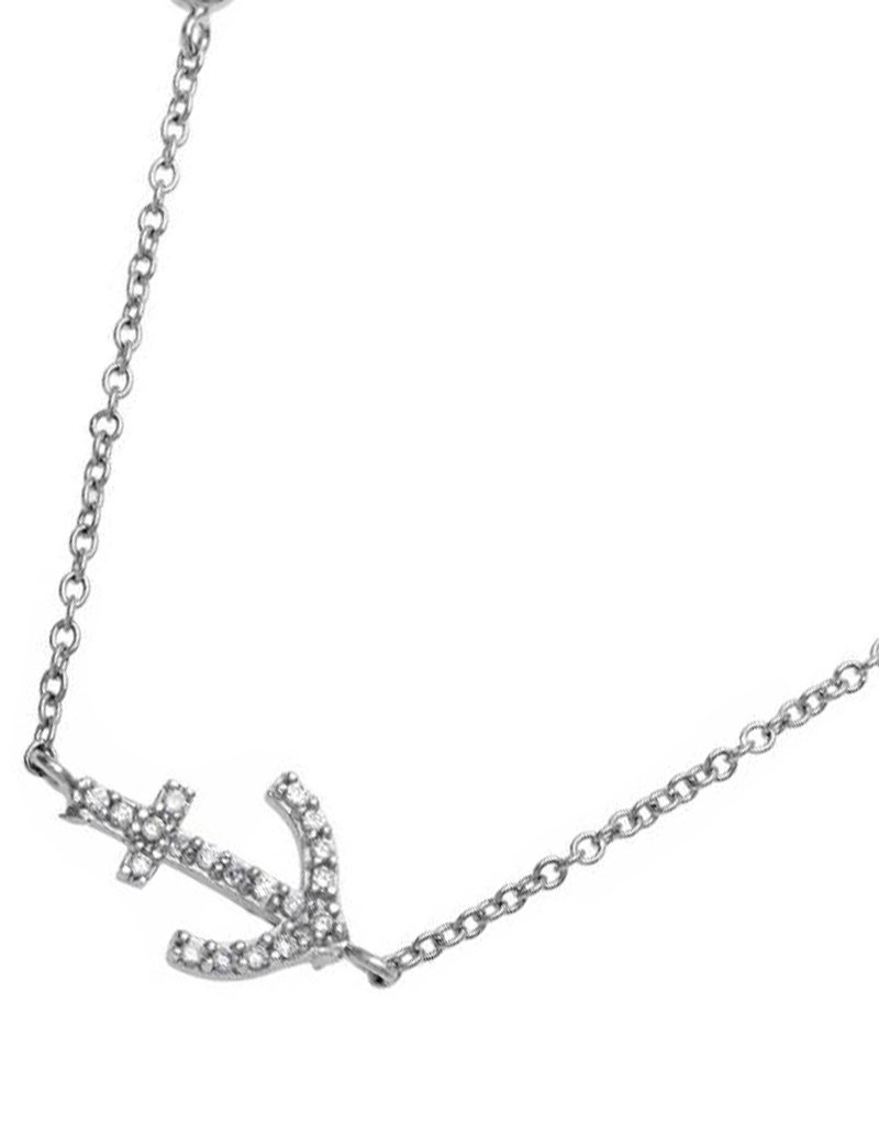 "Sterling Silver CZ Anchor Necklace 16""+2"""