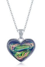 """Sterling Silver Abalone Heart Necklace 18"""""""