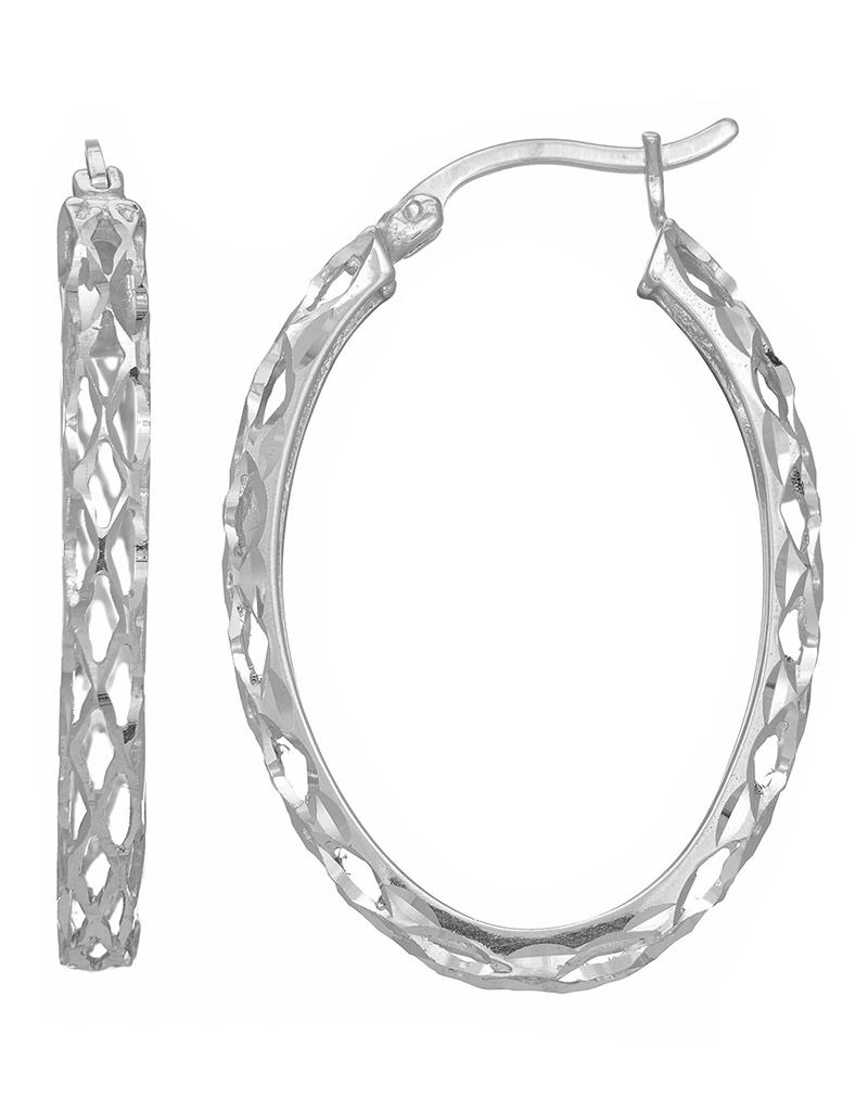 D/C Weaved Oval Hoop Earrings 30mm