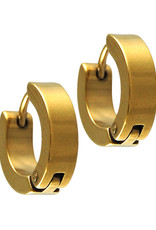 Stainless Steel 4mm Wide Gold Huggie Earrings 13mm