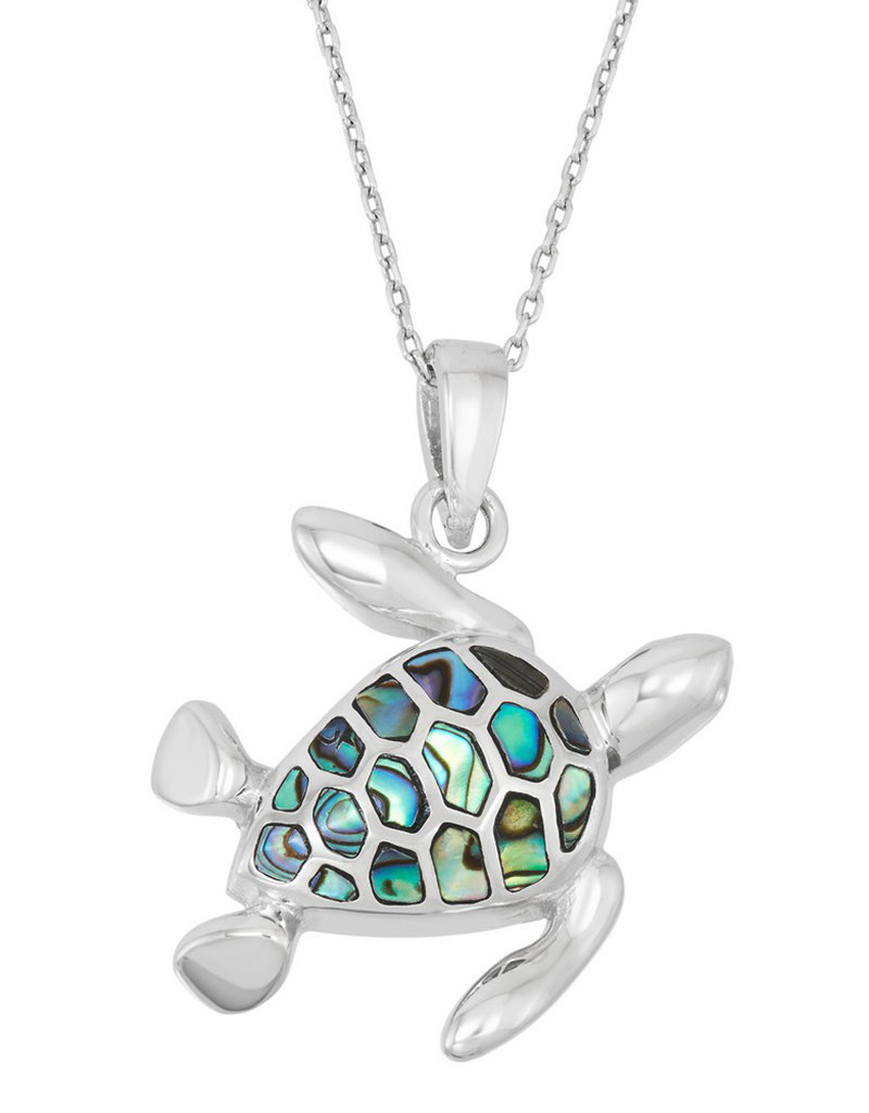 Sterling Silver Abalone Turtle Pendant
