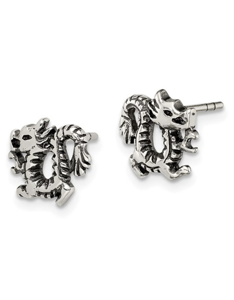 Antiqued Sterling Silver Dragon Post Earrings 9mm