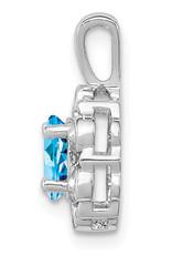 "Sterling Silver Oval Blue Topaz and Diamond Necklace 18"""