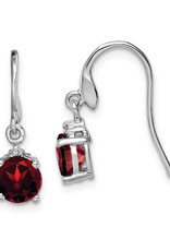 Sterling Silver Round Garnet and Diamond Earrings 6mm