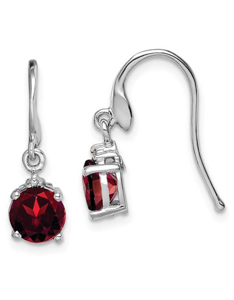 Round Garnet and Diamond Earrings