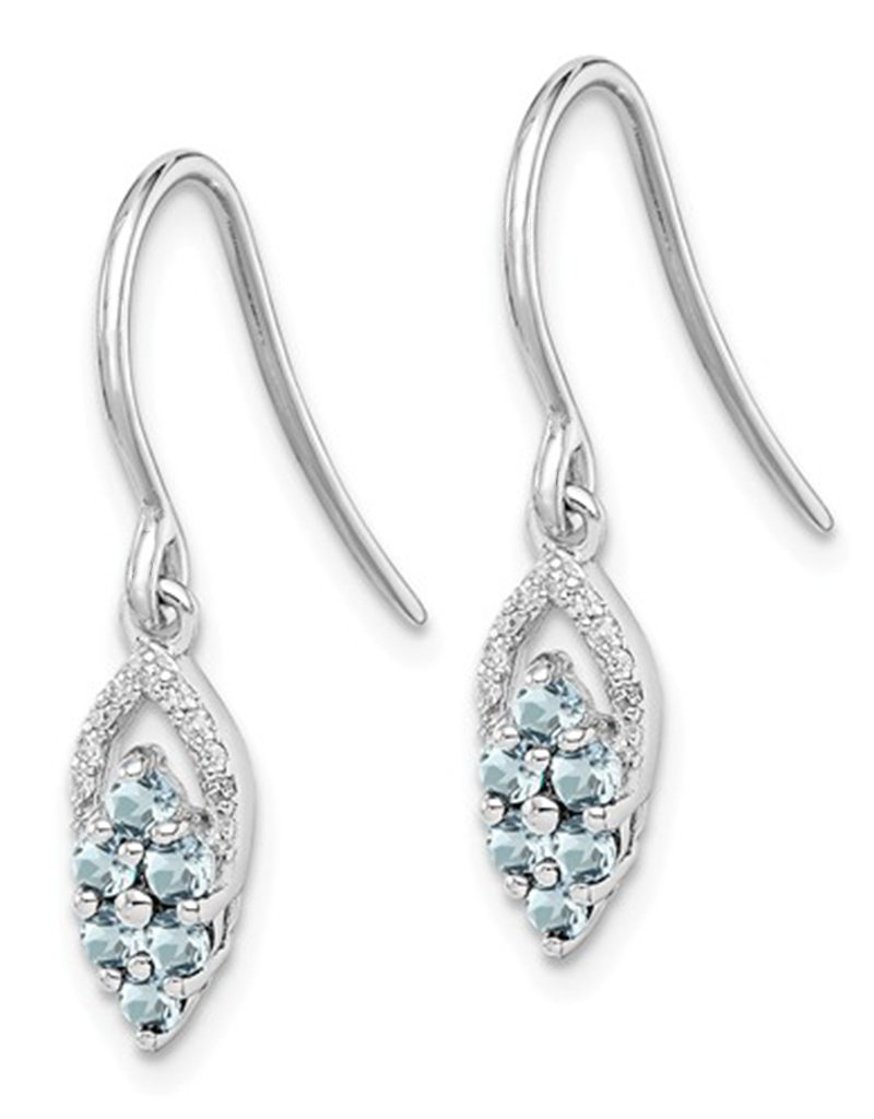 Sterling Silver Aquamarine and Diamond Earrings