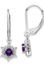 Sterling Silver Amethyst and Diamond Leverback Earrings