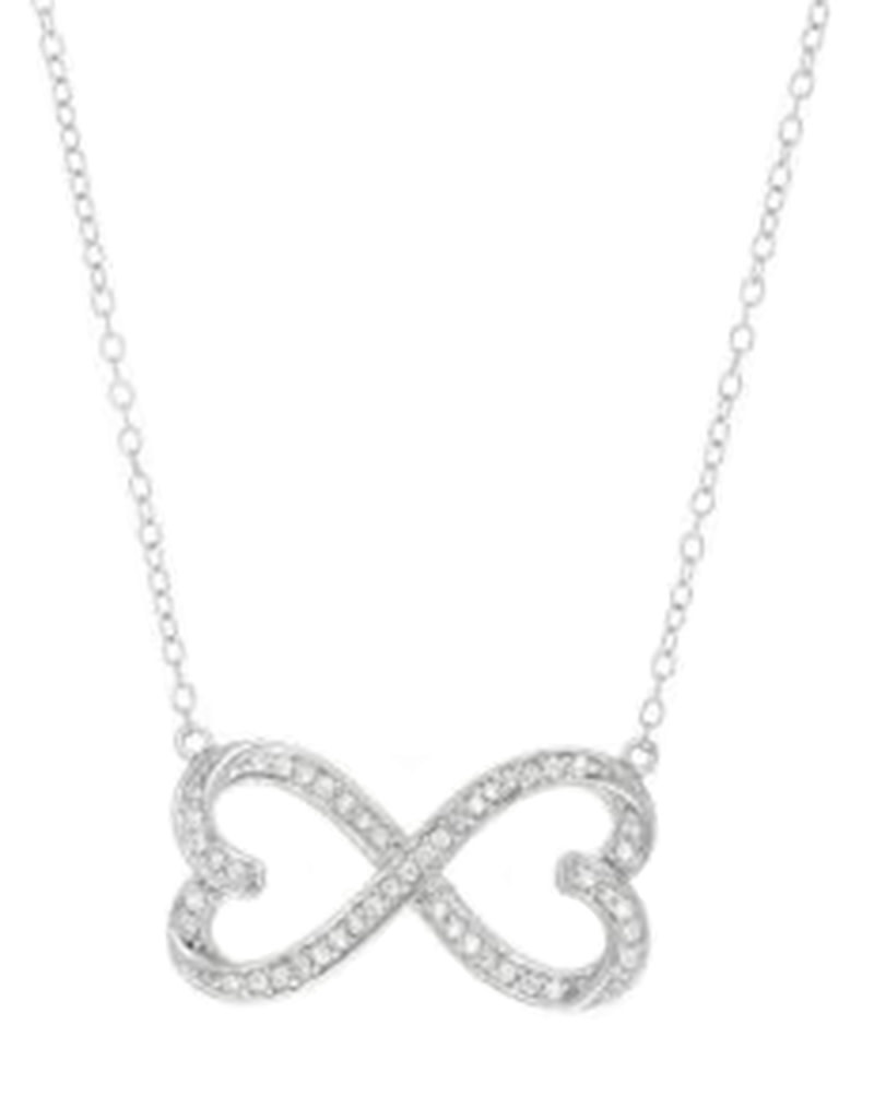 CZ Heart Infinity Necklace 18""