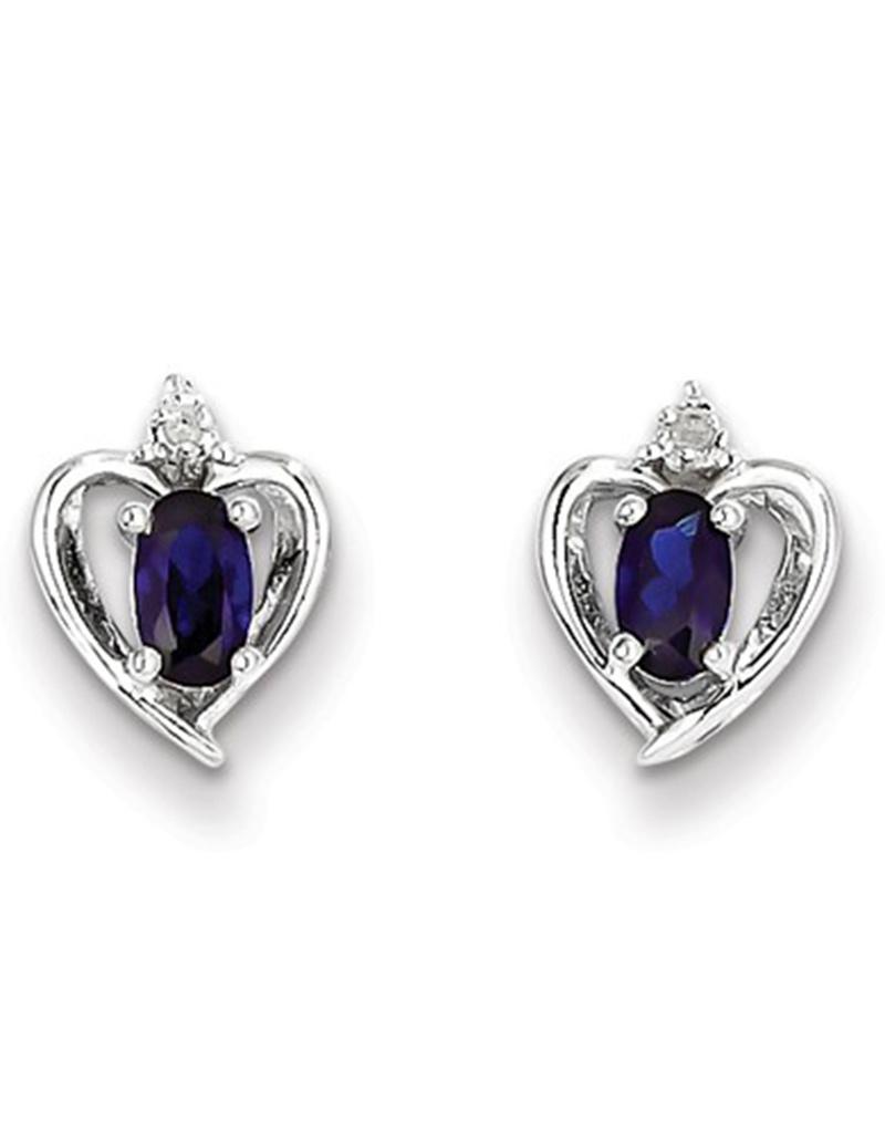 Sapphire (Lab) & Diamond Earrings