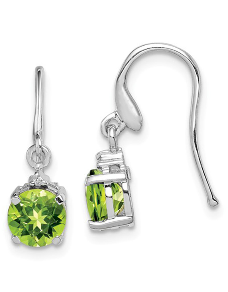 Round Peridot and Diamond Earrings