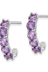 Sterling Silver Amethyst J-Shaped Hoop Earrings 19mm