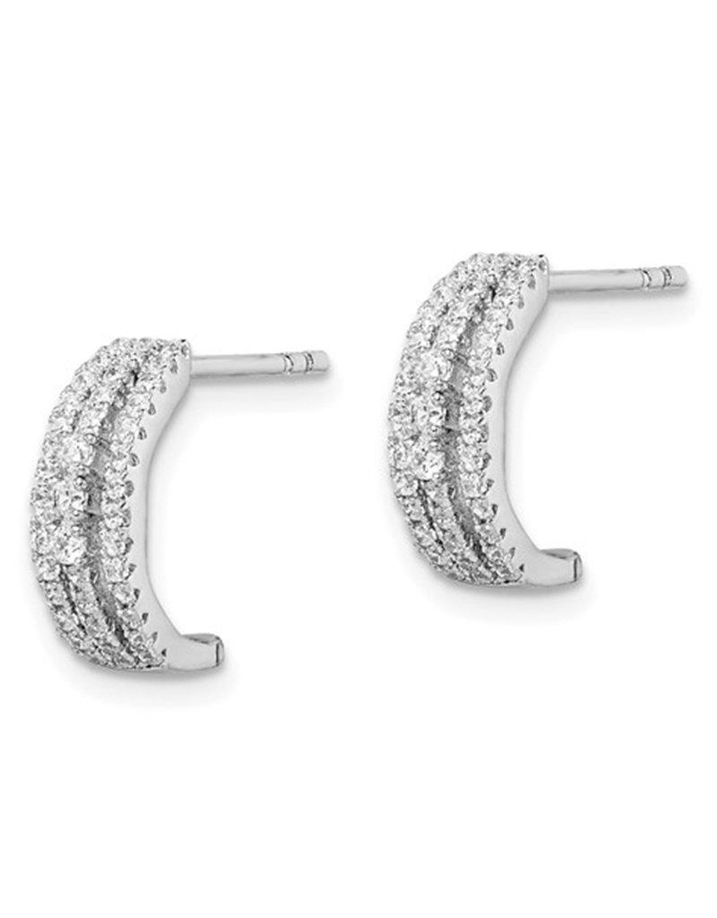 Sterling Silver 3-Row CZ C-Shaped Hoop Earrings