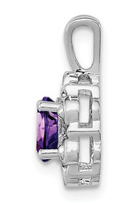"""Sterling Silver Oval Amethyst and Diamond Necklace 18"""""""