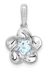 Sterling Silver Round Aquamarine Floral Necklace 18""