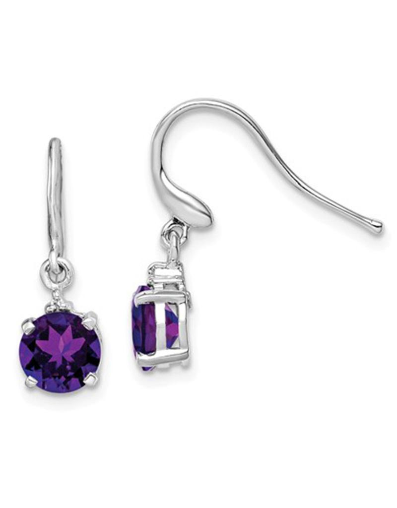 Amethyst & Diamond Earrings 6mm