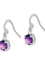 Sterling Silver Amethyst and Diamond Earrings 6mm
