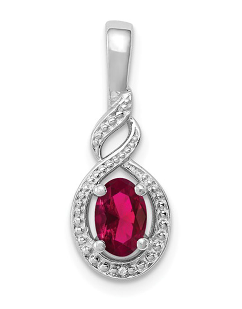 Oval Created Ruby Necklace
