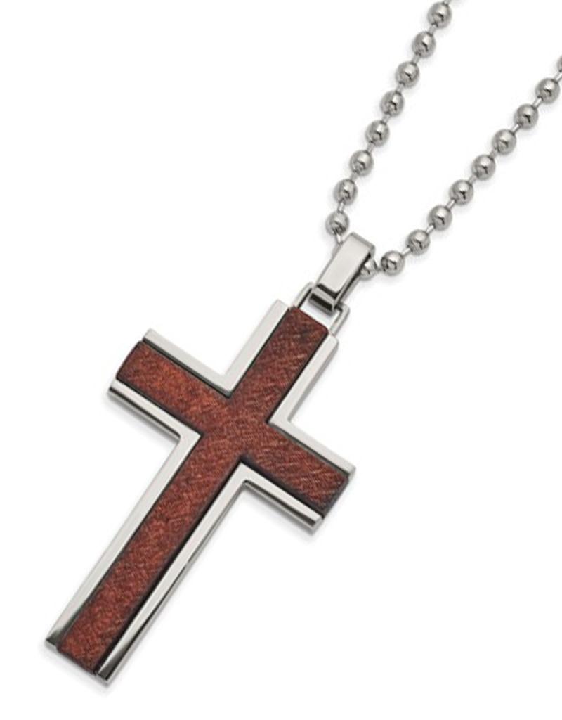 Steel Wood Cross Necklace