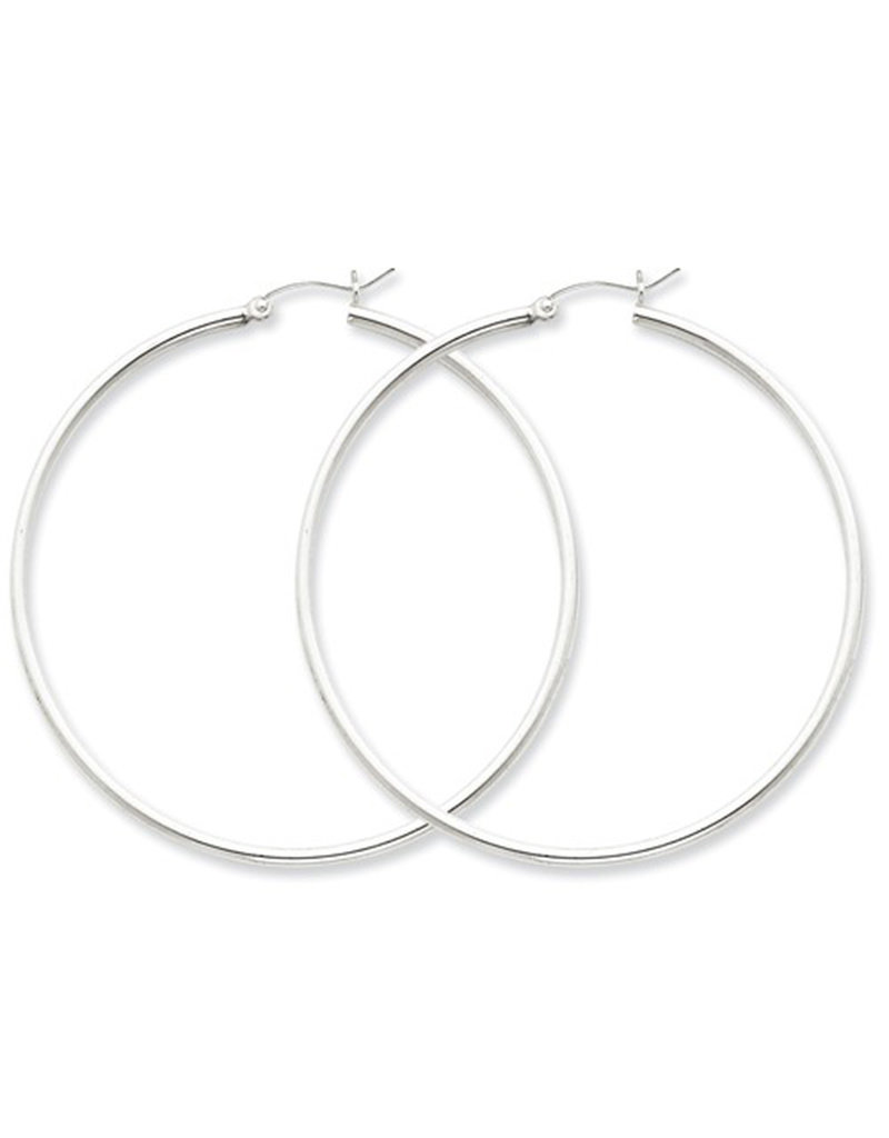 Sterling Silver 2mm Wide Hoop Earrings 55mm