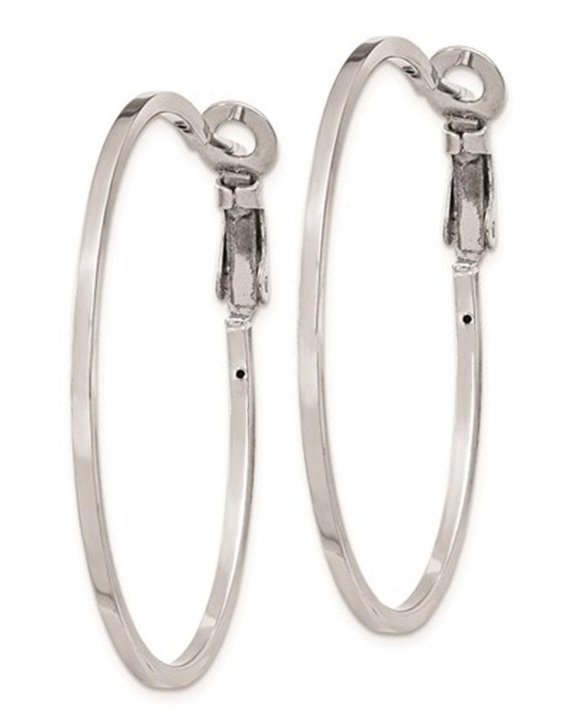 Sterling Silver 40mm Omega Clip Hoop Earrings