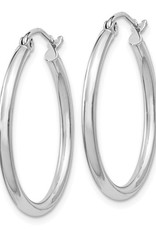 Sterling Silver 2mm Wide Hoop Earrings 24mm