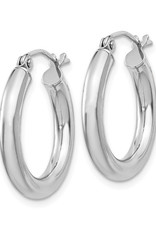 Sterling Silver 3mm Wide Hoop Earrings 20mm
