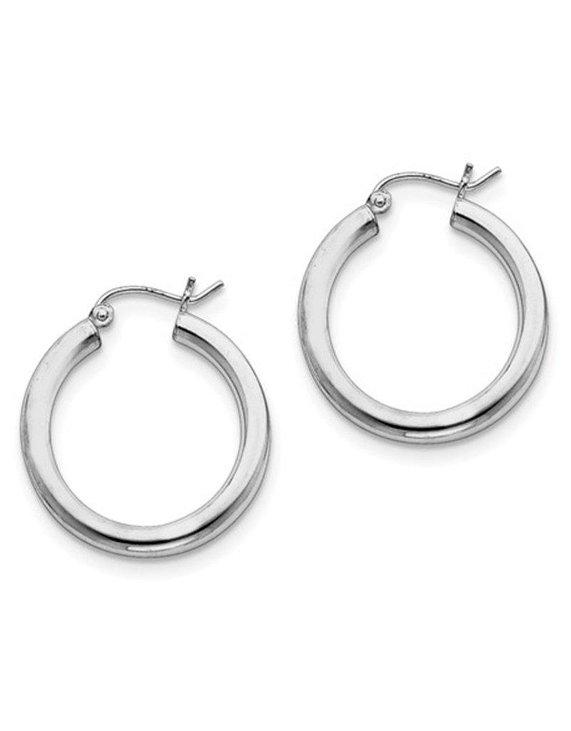 Sterling Silver 3mm Wide Hoop Earrings 25mm