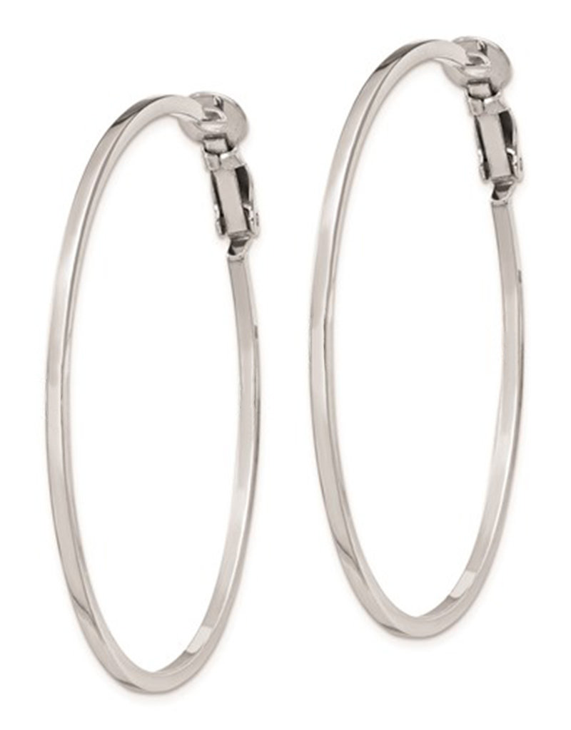 Sterling Silver 51mm Omega Clip Back Hoop Earrings